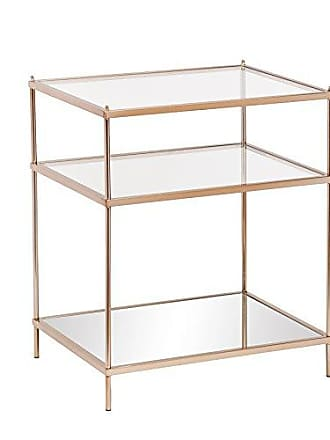 Southern Enterprises Knox Side Table - Metallic Gold Metal Frame w/ Glass Tops - Glam Style Décor