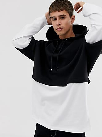 Asos oversized hoodie with double layer sleeve and hem in black - Black