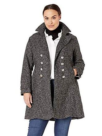 Yoki Womens Plus Size Double Breast Textured Wool Jacket, Black 1X