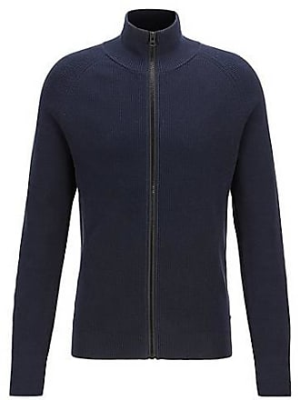 0127ed5140130 BOSS Knitted jacket in ribbed cotton with front zip