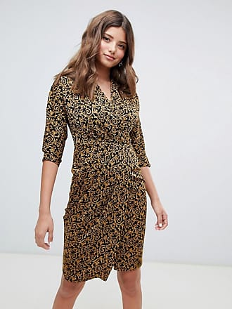 Closet wrap front pencil dress in gold baroque - Gold