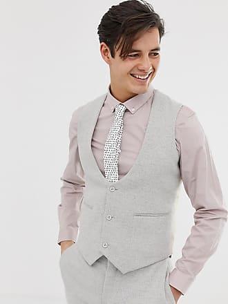 Asos Chaleco de traje gris hielo ajustado de sarga de ASOS DESIGN Wedding 849af0b3a6e