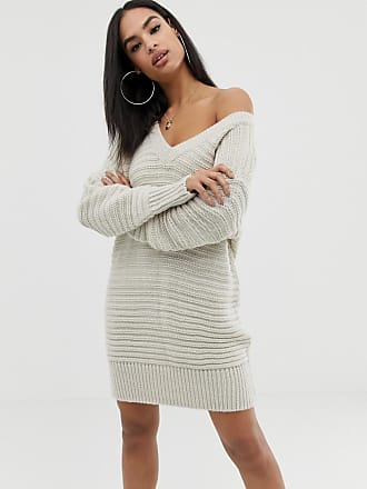 Asos stitch detail knitted mini dress with off shoulder - Stone