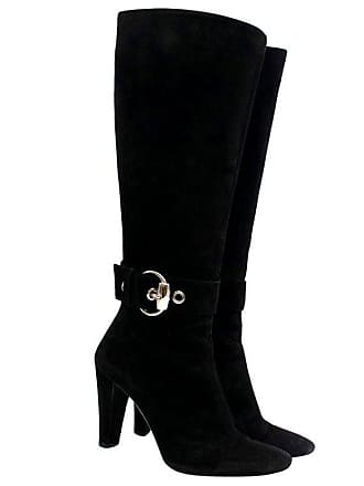 99cfe707708 Gucci Buckle Detail Suede Knee-high Boots Us 8