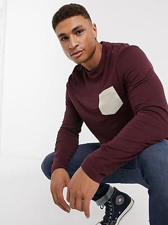Asos T-shirt bordeaux a maniche lunghe in cotone organico con tasca a contrasto-Rosso
