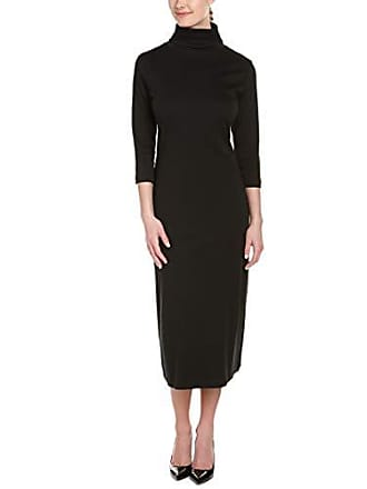 Joan Vass Womens 3/4 Sleeve Turtleneck Column Dress, Black, 1