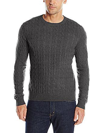 Williams Cashmere Mens 100% Cable Crew Neck, Charcoal, XXL