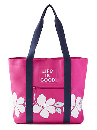 Life is good Hibiscus Stripe Sunny Day Cooler Tote OS Fiesta Pink