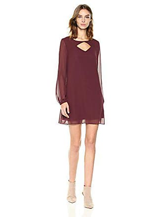 BCBGeneration Womens Long Sleeves Shirt Dress with Cut Out Out, Burgundy, XS