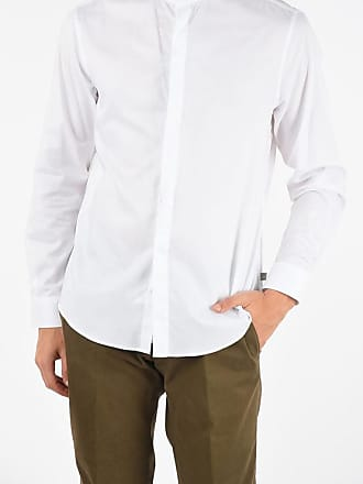 Armani COLLEZIONI Camicia Collo Coreana in Cotone Hopsack taglia M