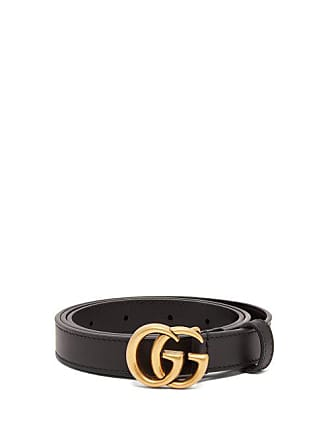 Gucci Gg Leather Belt - Womens - Black