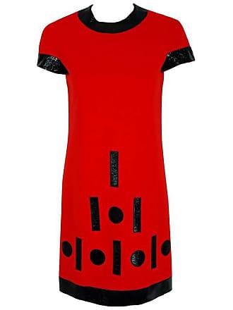 a22dfa3fbc0 Pierre Cardin 1969 Pierre Cardin Documented Red Wool   Black Vinyl Space-age  Mod Dress