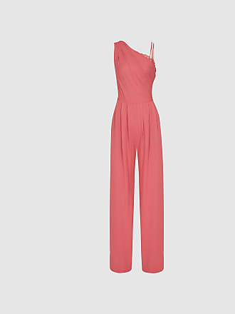 b47bfbaa9e8 Reiss Polly - Asymmetric Shoulder Wide Leg Jumpsuit in Coral