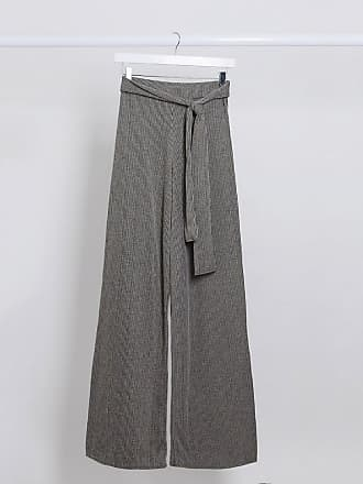 I Saw It First ribbed tie waist trousers-Grey