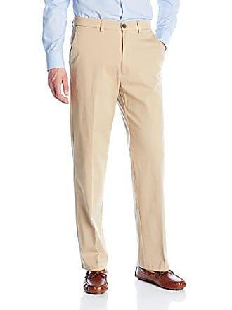 Haggar Mens Expandomatic Casual Stretch Solid Classic Fit Plain Front Pant, Khaki, 42x30
