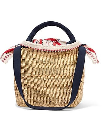 Muuñ Rita Straw And Striped Cotton-canvas Tote - Beige