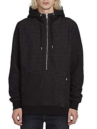 Volcom Mens Drastic Stone Half Zip Hooded Sweatshirt, Heather Black Extra Large