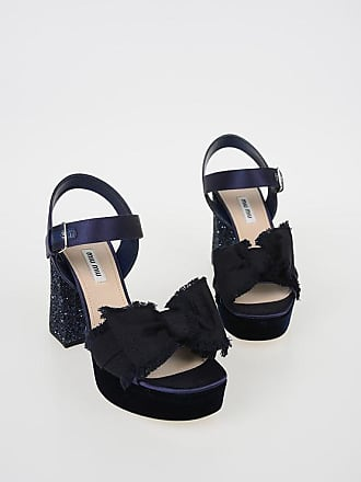 a5b516360ea711 Miu Miu 7 cm Satin Sandals with Glittery Heels Größe 38
