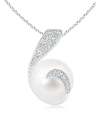 Angara Valentine Day Sale - Freshwater Cultured Pearl Pendant with Diamond Twist
