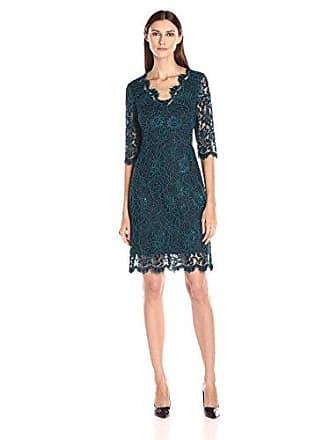 5761dfd9 Donna Ricco Womens Lace Sheath Dress, Navy Honor/Emerald, 6