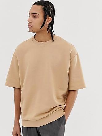Asos oversized short sleeve sweatshirt in beige - Beige