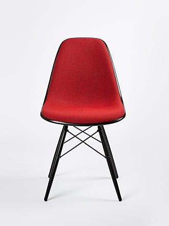 Vitra DSW Plastic Side Chair Black Maple & Hopsak Upholstery