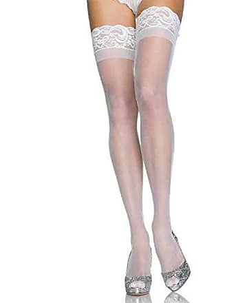 614122575e6 Leg Avenue Stay Up Lycra Sheer Thigh High (White Plus Size)