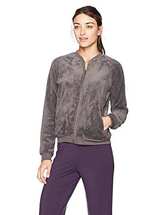 PJ Salvage Womens Lounge Zip Up Sweatshirt, Charcoal, Small