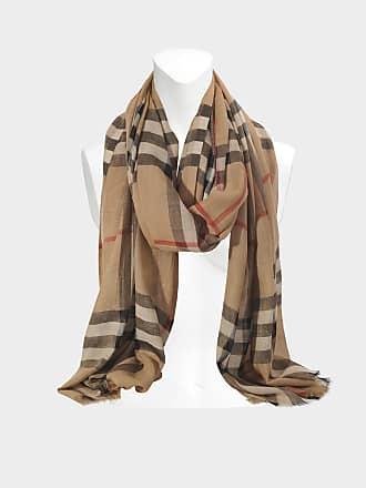 31e0a1e6502 Burberry Echarpe Gauze Giant Check en Laine et Soie Camel