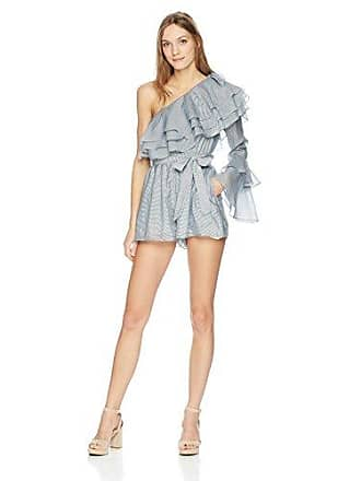 edb1a7a4678 C/Meo Collective Womens Sanctum Stripe One Shoulder Ruffle Playsuit, Ivory,  S