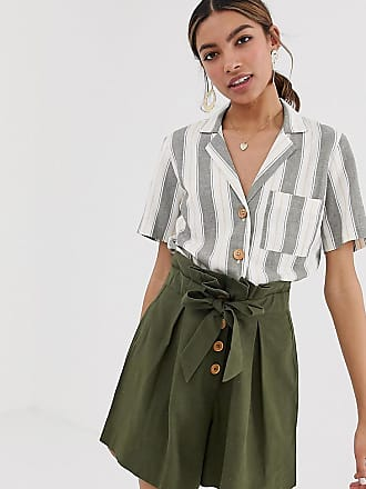 Miss Selfridge linen boxy shirt with pocket in stripe - Green