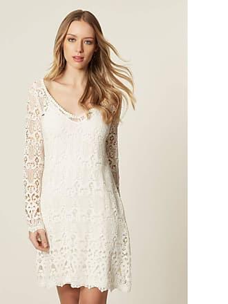 876fff4c25 MOB Vestido Renda Manga Longa Barrado Off White - P