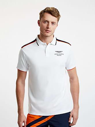 Aston Martin Mens Stripe Detail Polo Cotton Shirt   Medium   White