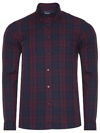 Fred Perry CAMISA MASCULINA WINTER TARTAN - ROXO