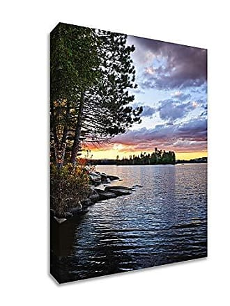 Tangletown Fine Art Lake of The Two Rivers Gallery Wrap Canvas Blue, Green, Yellow
