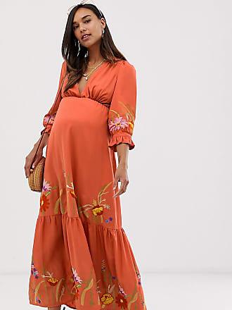 799b22e230f72 Asos Maternity ASOS DESIGN Maternity plunge neck maxi dress with border  embroidery