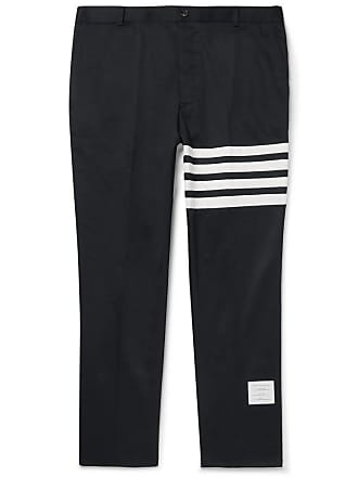 Thom Browne Navy Slim-fit Cropped Striped Cotton-twill Trousers - Navy