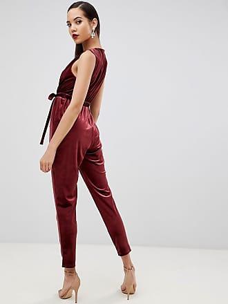 7c9faace3c Asos Tall ASOS DESIGN Tall sleeveless wrap jumpsuit in velvet - Pink