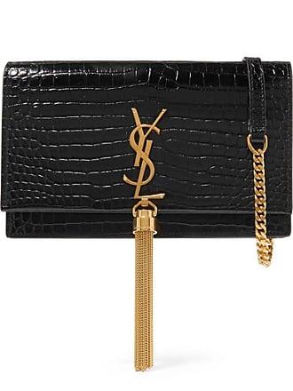 Saint Laurent Kate Small Croc-effect Patent-leather Shoulder Bag - Black
