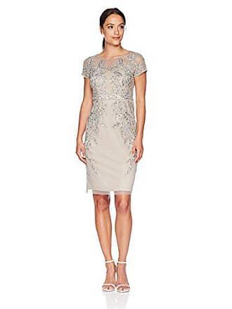 5893283c68757 Adrianna Papell Womens Petite Leafy Beaded Short Sleeve Sheath Dress,  Platinum, 12P