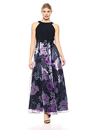 S.L. Fashions Womens Maxi Chiffon Print Skirt, Navy Multi, 18