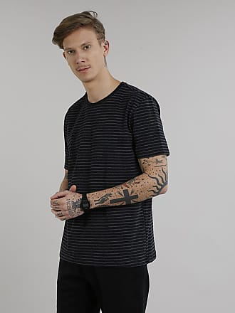 Basics Camiseta Masculina Básica Listrada Manga Curta Gola Careca Preta
