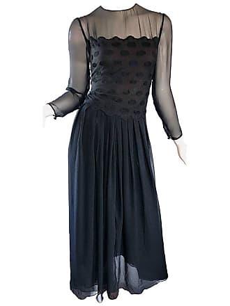768fa5eb62 Bill Blass Vintage Size 12   14 Black Silk Chiffon 1990s Long Sleeve 90s  Gown