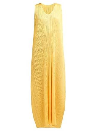 Pleats Please Issey Miyake Pleated Trapeze Cut V Neck Midi Dress - Womens - Yellow