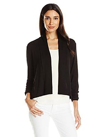 Ruby Rd. Womens Plus-Size Solid Knit Cardigan with Shawl Collar, Black, 1X