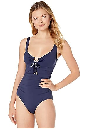 e2c903d4ed Delivery: free. Ralph Lauren Beach Club Solids Laced Over the Shoulder One-Piece  Swimsuit (Navy)