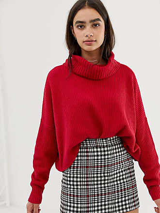 Hollister high neck ribbed knit sweater - Red