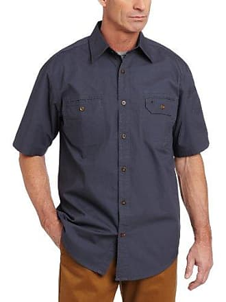 Carhartt Work in Progress Mens Standish Solid Short Sleeve Shirt Button Front Ripstop,Bluestone (Closeout),Small