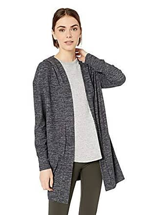 Daily Ritual Womens Cozy Knit Hooded Open Cardigan, Black Marl, Medium