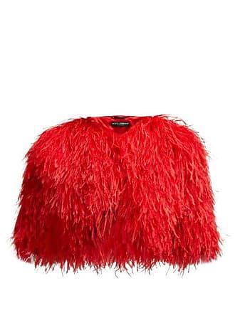 Dolce & Gabbana Cropped Feather Bolero Jacket - Womens - Red